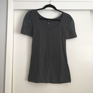 H&M Tops - H&M Gray top w/ lace detail