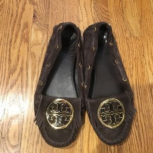 Tory Burch Brown Suede leather moccasin shoes