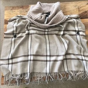 Fraas Sweaters - Plaid cozy poncho with cowl neck
