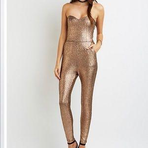 Pants - AYANAH Shimmery gold Jumpsuit Sz S