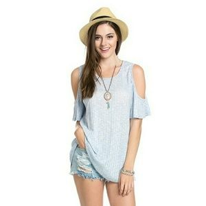 Blossom  Tops - Light Blue Cold Shoulder tee