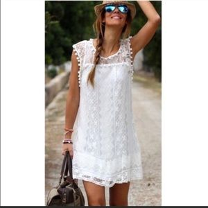 White lace casual mini dress