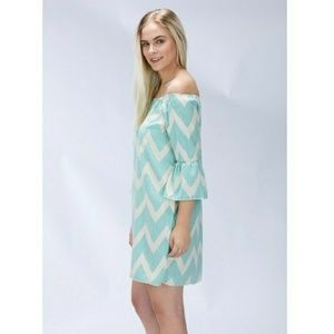 Clearout Sale! Dotted Chevron Off Shoulder dress