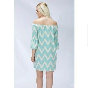 Blossom  Dresses & Skirts - Sale! 🆕 Dotted Chevron Off Shoulder dress
