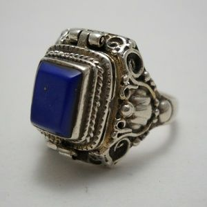 Vintage Lapis Lazuli & Sterling Silver Poison Ring