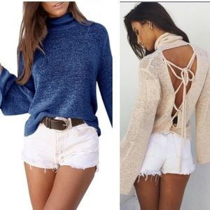Sweaters - Blue open back light sweater