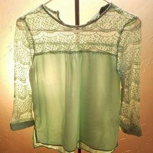 Mint lace and chiffon top