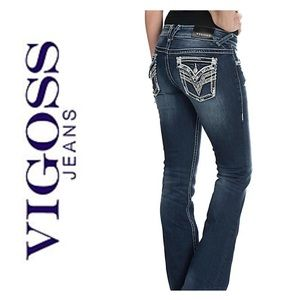 Vigoss Faded & Destroyed New York Boot Cut Jeans