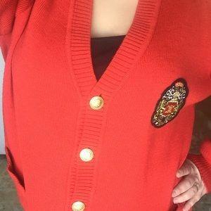 Celine Sweaters - Vintage Celine red wool cardigan!!