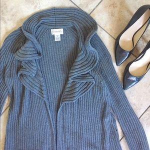 Chadwicks Sweaters - Knit gray ruffle cardigan