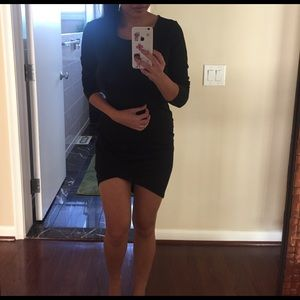 FOREVER 21 Asymmetrical Black Long Sleeve Dres