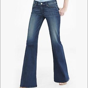 Express Denim - Dark Blue Faded Mid Rise Wide Leg Flare Jean