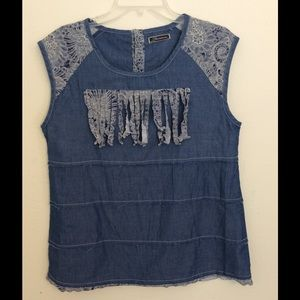 Tops - 🔥 3 for $15 Chambray  lace trimmed top.