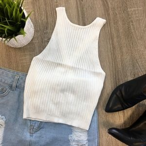 Sleeveless Cross-Back Ribbed Crop Top