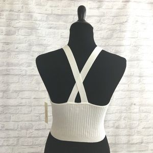 RGL Collection Tops - Sleeveless Cross-Back Ribbed Crop Top