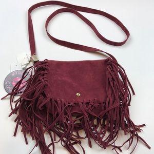 Handbags - Burgundy Suede Fringe Crossbody Bag