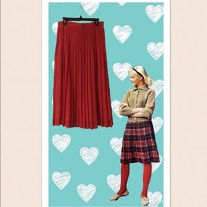 Vintage Red Pleated Polka Dot Midi Skirt