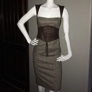 Bebe Brown tweed dress with leather accents