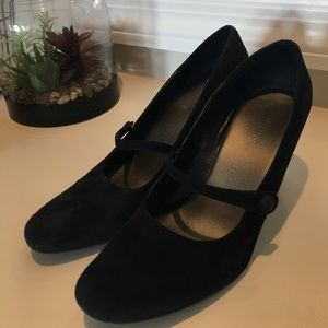 Bass Shoes - Black suede Mary Jane style wedges