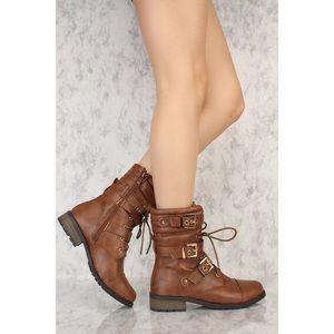 Boutique  Shoes - Mid-Calf Buckle Strap Lace-Up Combat Boots