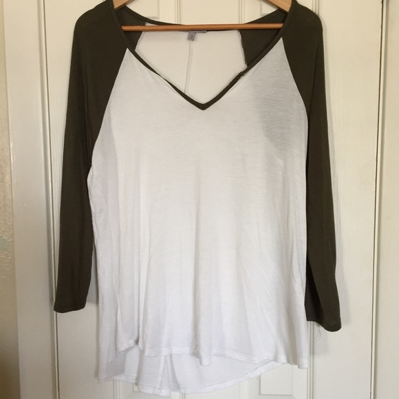 73 Off Charlotte Russe Tops White And Olive Green T