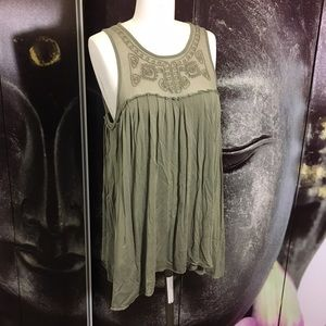 Mustard Seed Tops - MUSTARD SEED Olive Sheer Embroidered Tank Top
