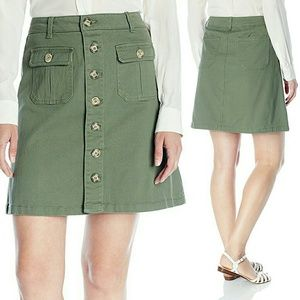 Democracy Dresses & Skirts - Dusty Olive Button Front A-Line Utility Skirt NWT