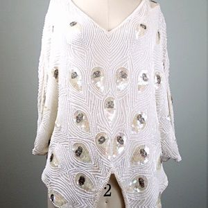 Pearl Beaded Iridescent Sequined Top
