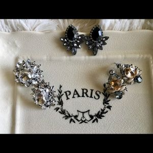 """""""Lina"""" Black and Grey Crystal Statement Earrings"""