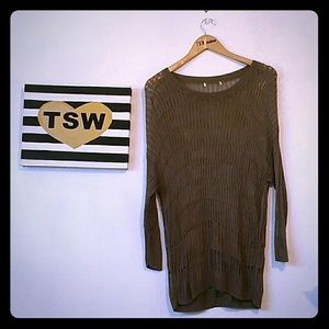 Brown knitted long soft sweater large