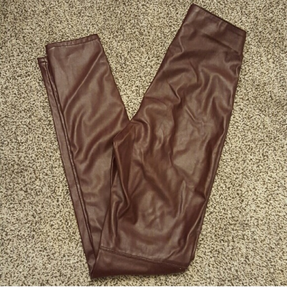 H&M Pants - Burgundy Vegan Leather leggings