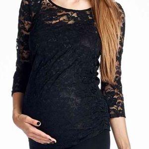 Hello MIZ Tops - Hello MIZ 3/4 Sleeve Ruched Lace Maternity Top