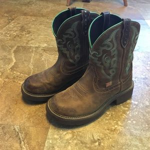 Justin Boots Shoes - Justin Boots brown with teal accents