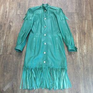 Christian Dior Vintage Green Leather Fringe Coat