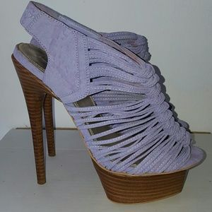 Wild Pair Shoes - Lilac Suede Heel with Wooden Platform Sz 7.5