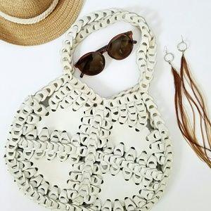 HPVintage White Leather Loop Hobo Bag