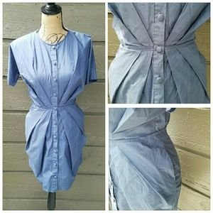 Uniqlo Dresses & Skirts - Uniqlo Blue Button Down Fitted Dress