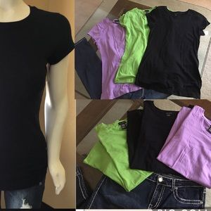 Zenobia Tops - Set of THREE long basic tees T shirt layer stretch