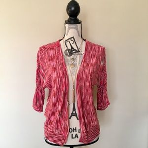 Red, Pink & Taupe Flyaway Open Cardigan