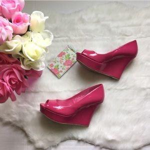 Dots Shoes - 🆕NWOB Hot pink peep toe wedges