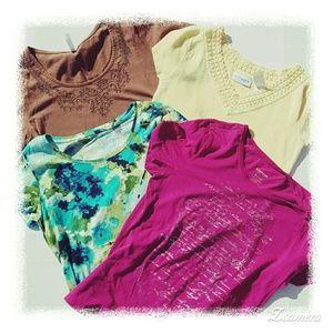 Tops - Lot 4 tees short sleeve tops S SMALL Liz Express 9