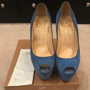 Christian Louboutin Shoes - Authentic Blue Suede Christian Louboutin Platforms