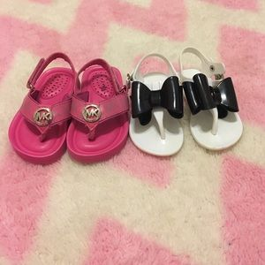 MiK Sandals and White with Black Bow Flip Flops