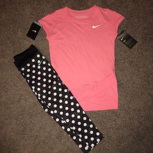 Nike Other - Nike DRI FIT set size 6 MELON color & polka dots!