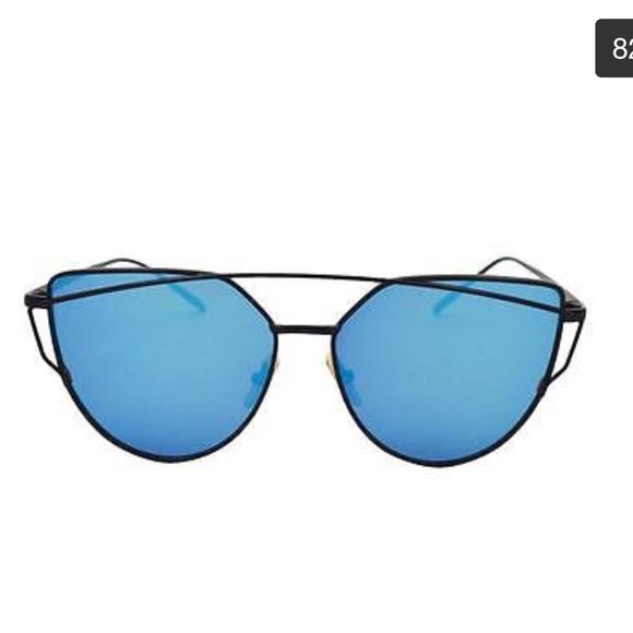 3d0d33a0ad Flat Mirrored Lens Cat Eye Sunglasses Blue Black