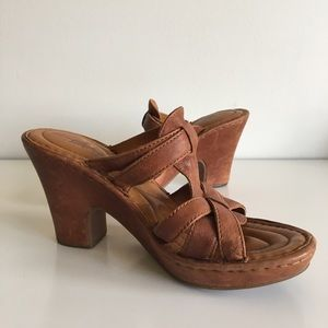Born Shoes - Born Leather Heeled Sandals Size 8/39