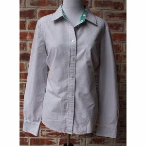 Boden Tops - Boden Grey White Striped Button Down Blouse 8 R