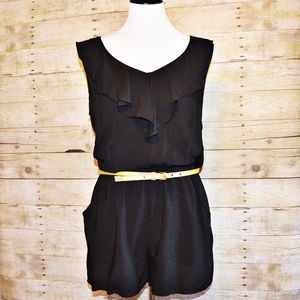 Amy Byer Pants - Black Romper with Front Ruffle