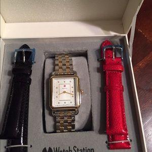 Michele Accessories - New Michele two tone diamond deco watch gift set