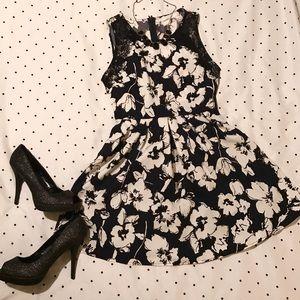 Lush Dresses & Skirts - Lush Nordstrom Navy Blue/White Floral Skater Dress